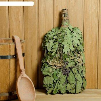 Веник для бани экстра из кавказского дуба с букетом трав, в индивидуальной