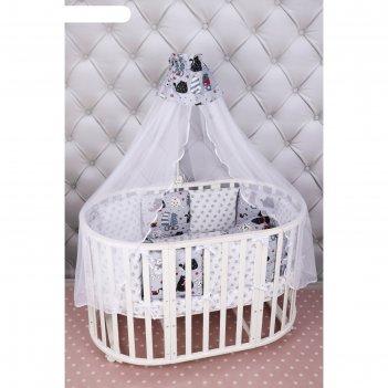 Комплект в кроватку wb, 15 предметов, бязь, цвет серый, принт котики