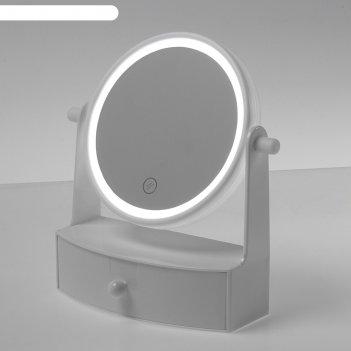 Зеркало luazon kz-05, подсветка, 19,5 x 21,5 x 9 см, 4*ааа , настольное, к