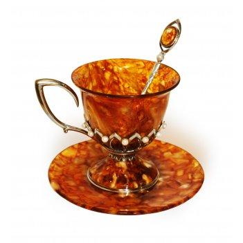 Чашка чайная из янтаря в серебре серебро 875 проба императрица, 200 мл, с