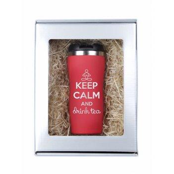 Термокружка keep calm красная в подарочной упаковке