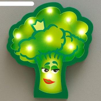 Ночник брокколи 9хled батарейки 2ааа зеленый 23х3,5х23,5 см