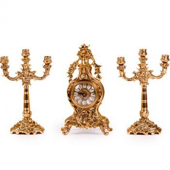 Часы каминные плодородие с канделябрами на 3 свечи, набор из 3 предм.