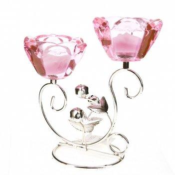 Подсвечник декоративный для 2-х свечей розовый цветок 18*9*17,5см.  (метал