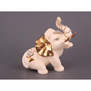 Фигурка слон белый со стразами высота=18 см длин...