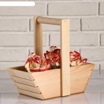 Кашпо деревянное корзинка, лодочка, ручка деревянная, массив, натуральное,
