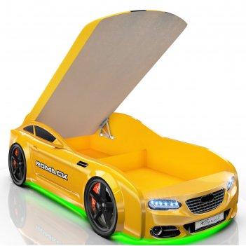 Кровать romack real-м a7, 1900 x 800 мм, подсветка дна и фар, цвет жёлтый