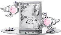 Фоторамка crystocraft свадебные голуби серебристого цвета с розовыми кри