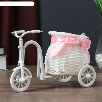 Корзинка декоративная велосипед с кашпо-вазоном, микс