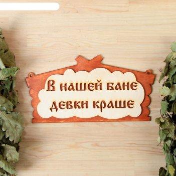Табличка для бани в нашей бане девки краше! в виде избы