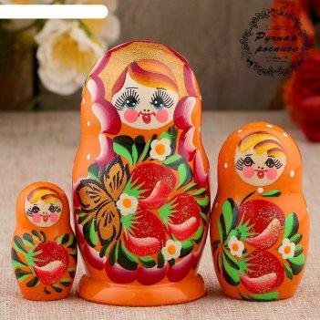 Матрёшка «земляничка», оранжевое платье, 3 кукольная, 10 см