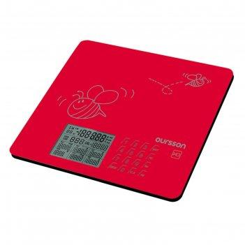 Весы кухонные oursson ks0502gd/rd, электронные, до 5 кг, сенсор, 1хcr2032,