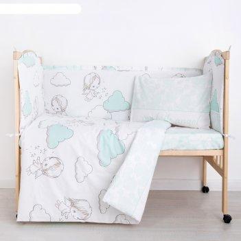 Комплект в кроватку (6 предметов) маленький ангел, бязь, хл100%