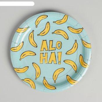 Тарелка бумажная aloha, бананы, 18 см
