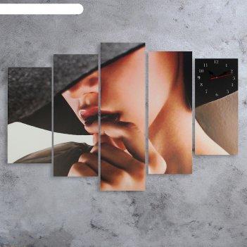 Часы настенные модульные «загадочная девушка», 80 x 140 см