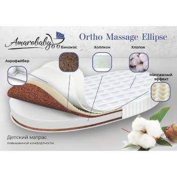 Матрас ortho massage ellipse, размер 75 x 125 см, высота 10 см, трикотаж
