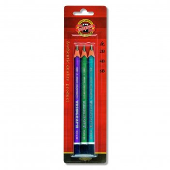Набор карандашей ч/г разной твердости k-i-n 1835 3шт, 2b-6b, jumbo triogra