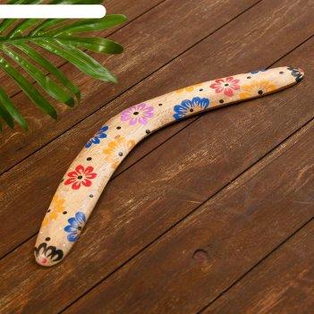 Сувенир из дерева бумеранг бежевый 40х10х1 см