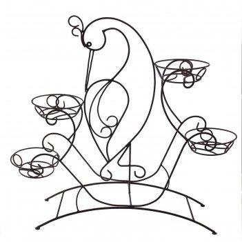 Подставка для цветов напольная журавль на 4 цветка