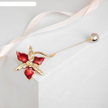 Булавка цветок, 10,5см, цвет красный в золоте
