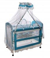 Детская кроватка горошек с балдахином и люлькой, цвет бирюзовый