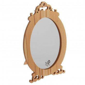 Зеркало на подставке дерево форест с упором овал одностор 16*24см