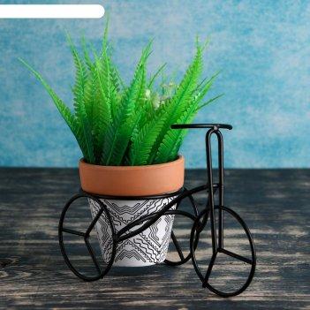 Кашпо керамическое 9*9см на мет подставке велосипед