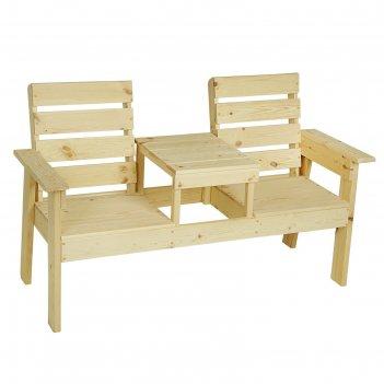 Скамейка со столиком, хвоя, 90х60х160см