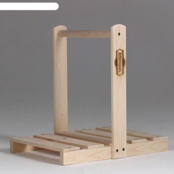 Дровница переноска деревянная, с высокой ручкой