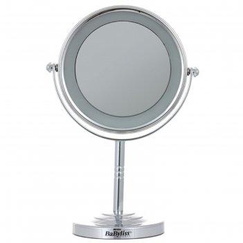 Зеркало косметическое babyliss 8435 e, 7 вт, d=11 см, 3xaa, с подсветкой,
