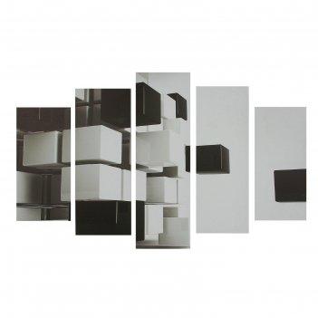 Картина модульная на холсте 3d квадраты  80*140 см