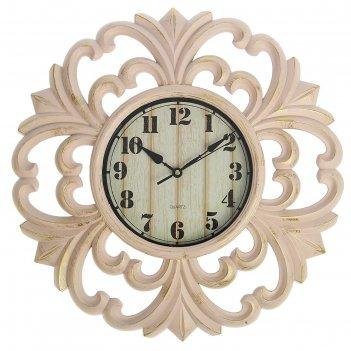 Часы настенные, серия: интерьер, мини букеты, розовые с позолотой, d=39 см