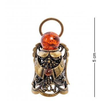 Am-2230 фигурка колокольчик-ангел (латунь, янтарь)