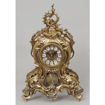 Часы из бронзы с завитком, маятником virtus золото 38х25см 5731