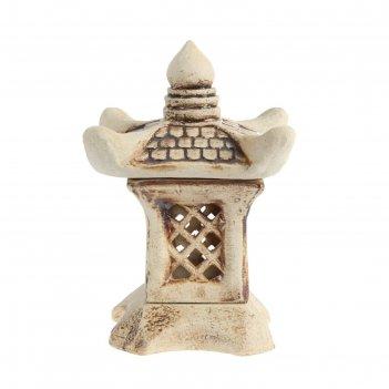 Садовый светильник китайский домик малый шамот
