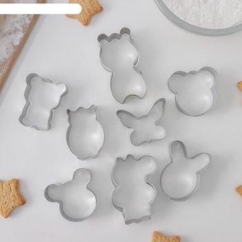 Набор форм для вырезания печенья 14x14 см животные, 8 шт