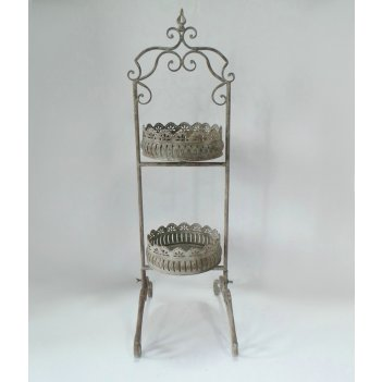 Этажерка металлическая 2-х ярусная для цветов  декоративная,  белая патина
