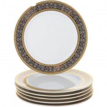 Тарелка десертная 17 см, opal, декор широкий кант платина, золото