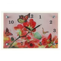 Часы настенные прямоугольные орхидеи и бабочки, 20х30 см