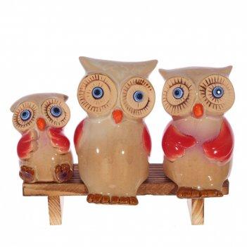Фигурка декоративная совы, набор из 3-х шт, l18 w7 h14 cм
