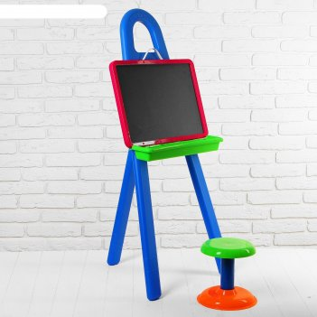 Доска для рисования, в комплекте мольберт, стульчик: 20 см, маркер, набор