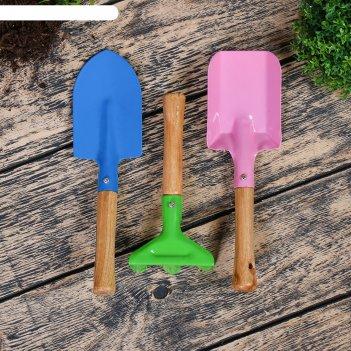 Набор садового инструмента, 3 предмета: грабли, совок, лопатка, длина 20 с