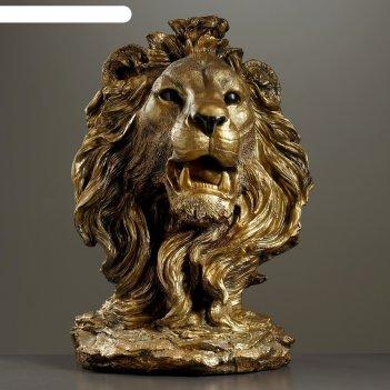 Садовая фигура голова льва огромная, бронза