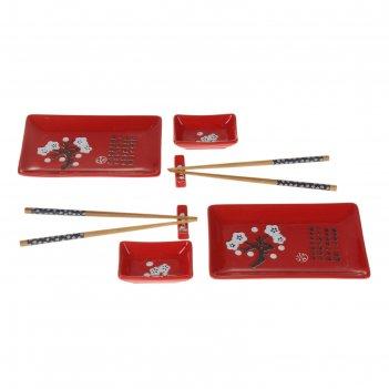 Набор для суши на 2 персоны, 8 предметов сакура на красном