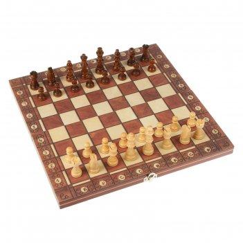 Шахматы шашки нарды 3в1, дерево, на магнитах, 34*4*17см