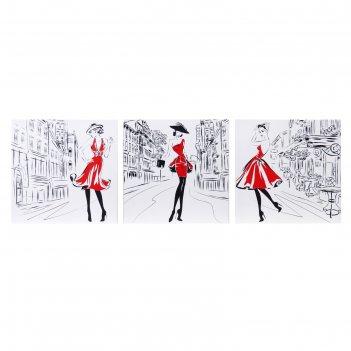 Модульная картина модница 111х37 см (3 - 37х37см)