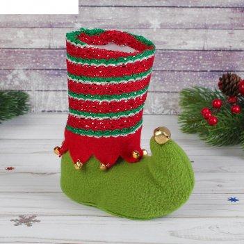 Подарочная упаковка сапожок зеленый с бубенцами