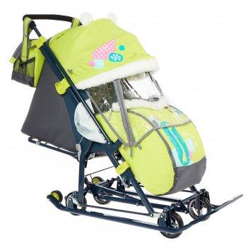 Санки коляска «ника детям нд 7-6», рисунок с жирафом, цвет лимонный, механ