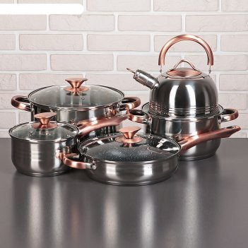 Набор посуды злата 2, 5 предметов: кастрюли 3,6/6,1 л, ковш 2,5 л, чайник