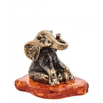 Am-3258 фигурка «слон мудрость» (латунь, янтарь)